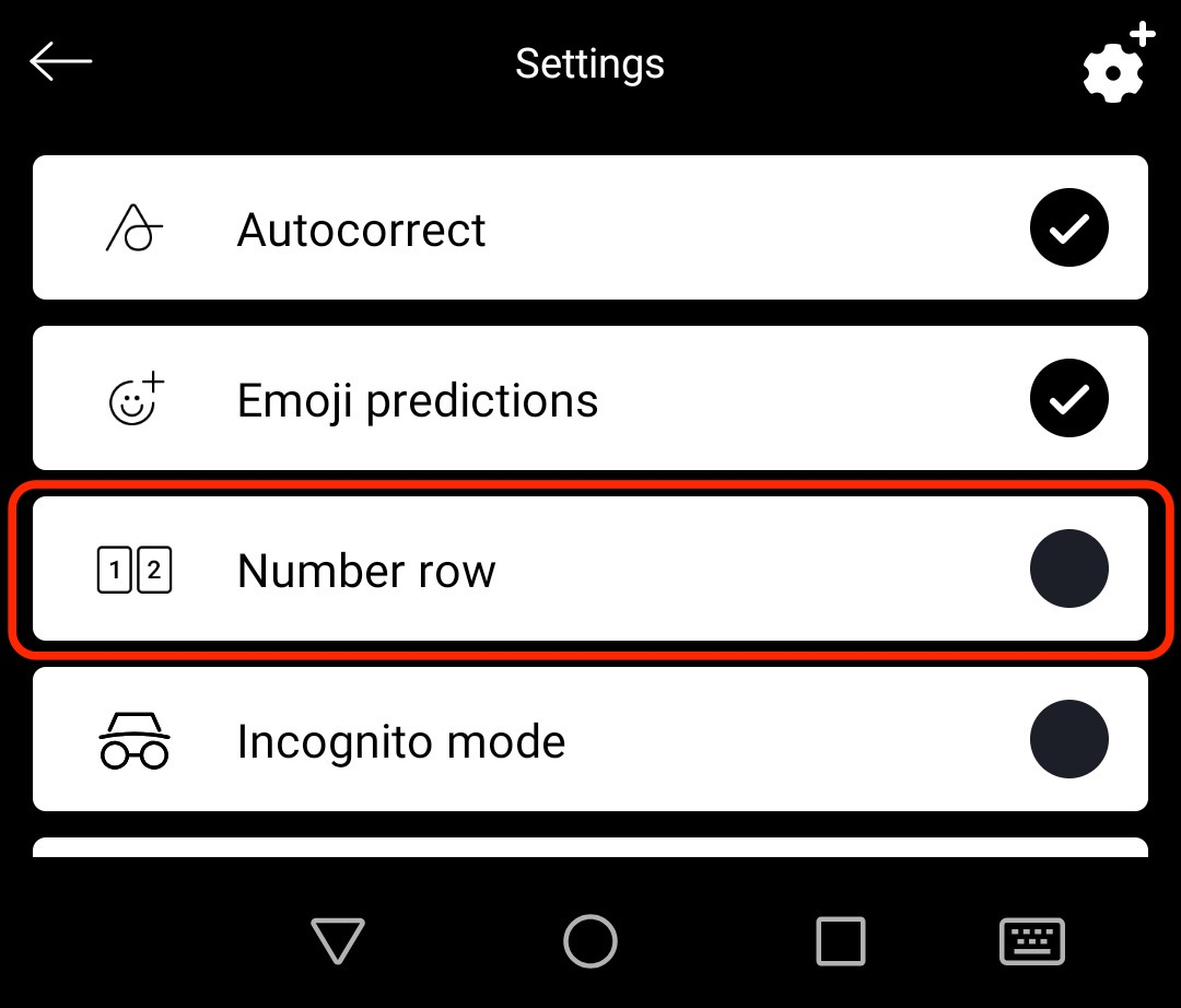 How do I turn the number row on/off in SwiftKey Keyboard for